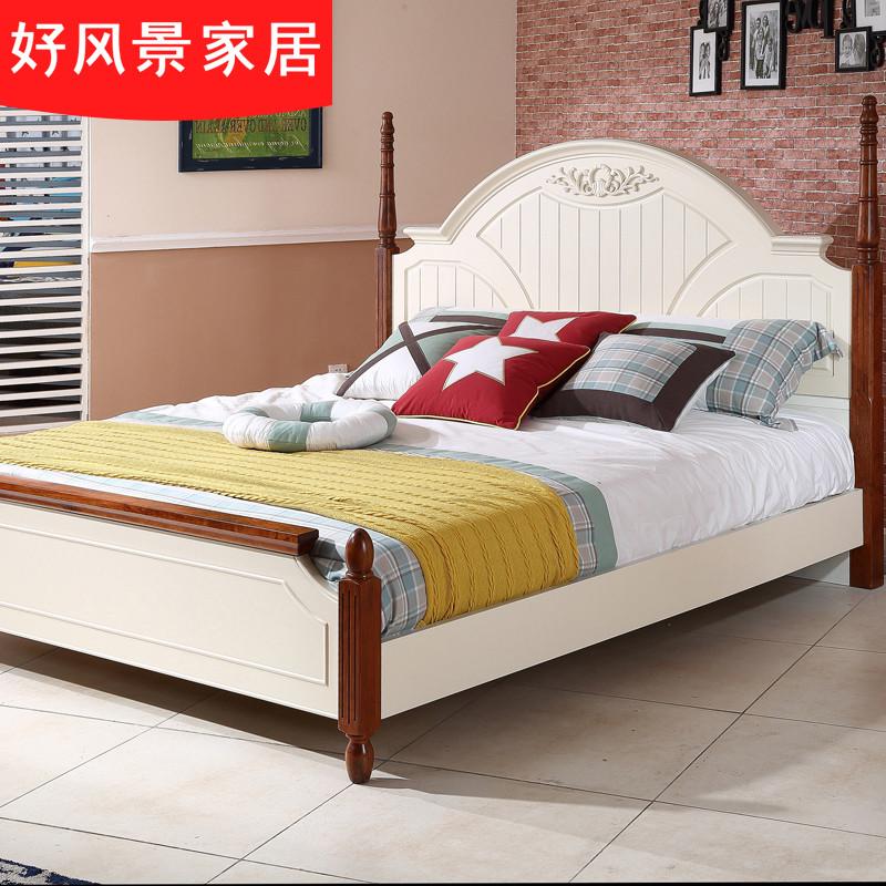 好风景家居 1米8床低箱床小户型板式床地中海双人床美式卧室成套家具3
