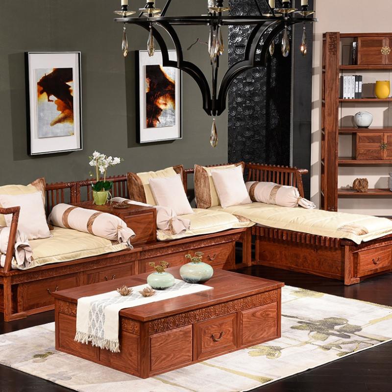 木屋子家具 现代新中式红木沙发 刺猬紫檀实木沙发 明清仿古转角组合图片