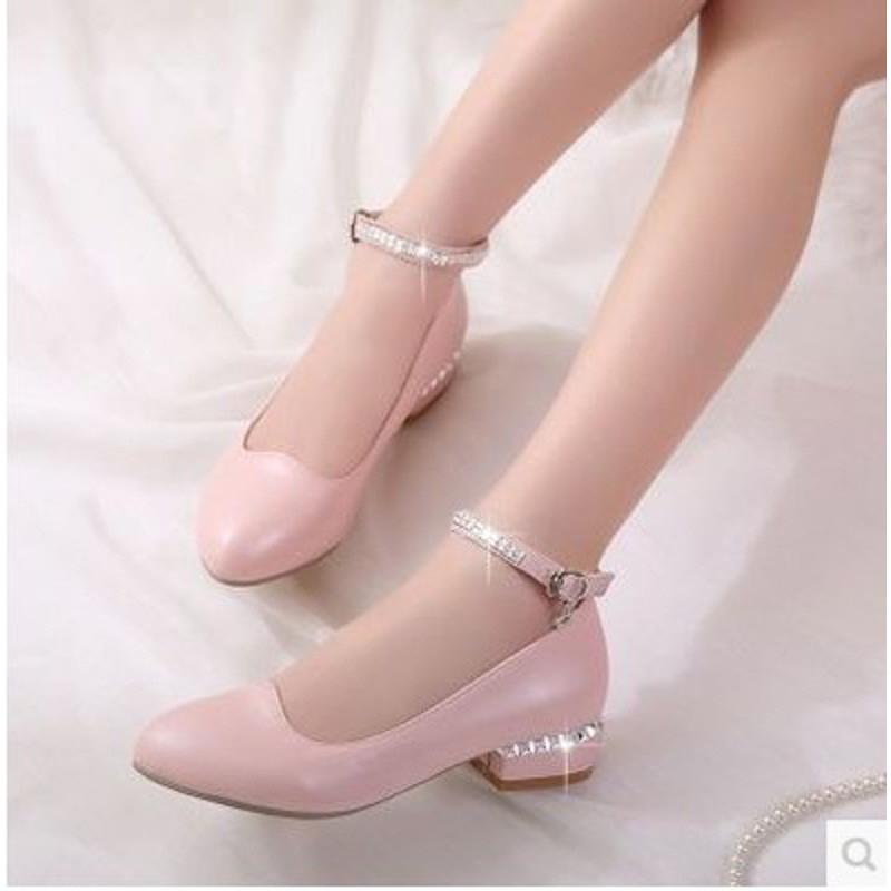 儿童高跟鞋女公主水晶灰姑娘小皮鞋2016春秋新款中大童小孩的单鞋