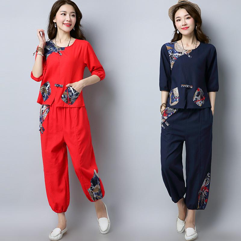 2018新款夏季女装时尚套装女复古民族风棉麻上衣九分灯笼裤两件套图片