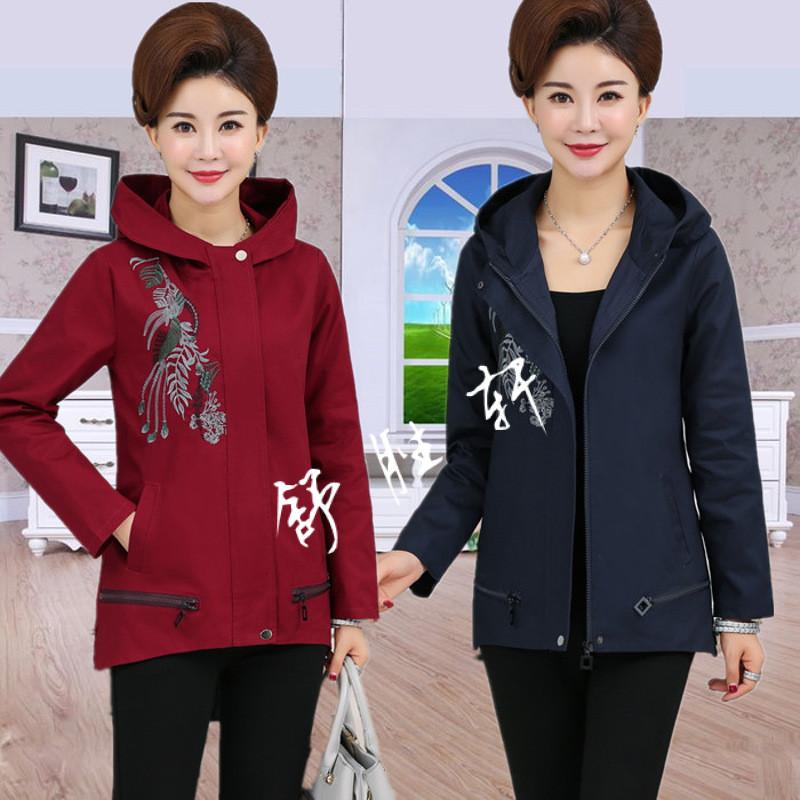 中老年人春秋短外套女式中年顯瘦夾克衫韓版媽媽裝薄外套短款風衣圖片