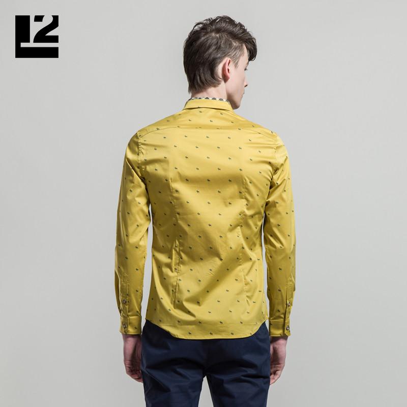 l2男装 梅花鹿动物印花休闲衬衫长袖男修身黄色衬衣510166834