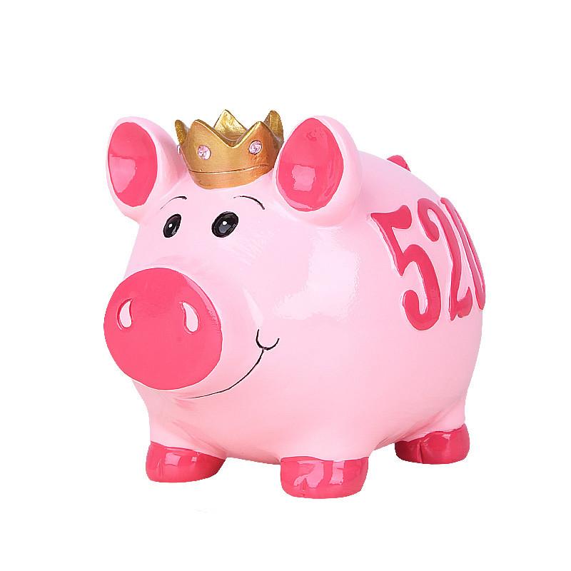 小猪存钱罐礼品卡通创意可爱零钱罐硬币储钱罐现代儿童储蓄罐摆件-粉图片