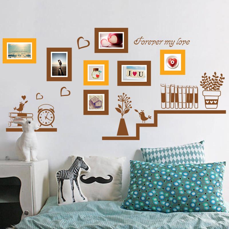 可移除墙贴纸创意照片墙客厅电视背景墙装饰墙上布置相框贴画-书架
