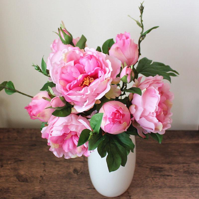 欧式花艺摆设插花花束客厅假花仿真牡丹装饰花束绢花摆件-粉色