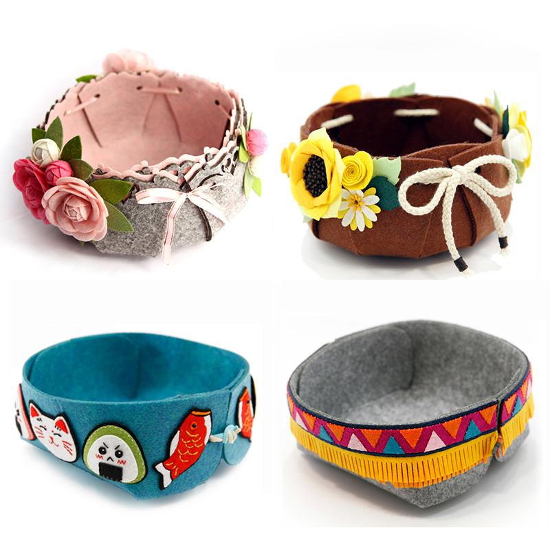 手工diy收纳篮置物盒创意不织布手工制作布艺材料包-香远山茶花大号