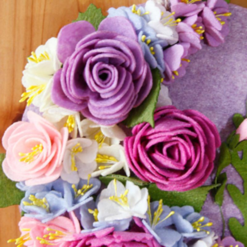 花开壁挂墙挂件装饰品创意不织布手工制作diy布艺材料包-花开月圆墙