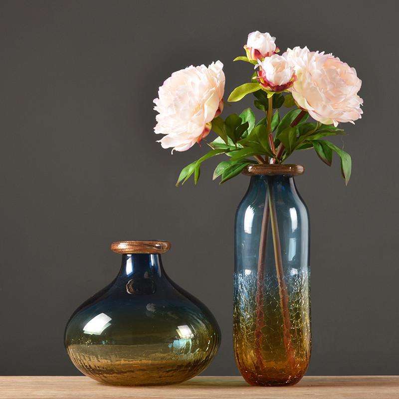 欧式冰裂透明玻璃花瓶简约现代客厅玄关插花花瓶家居装饰品-矮款