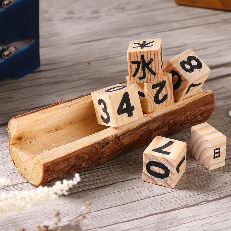 木头日历复古家居装饰品客厅桌面小摆件创意工艺品-原木制作大号日历图片