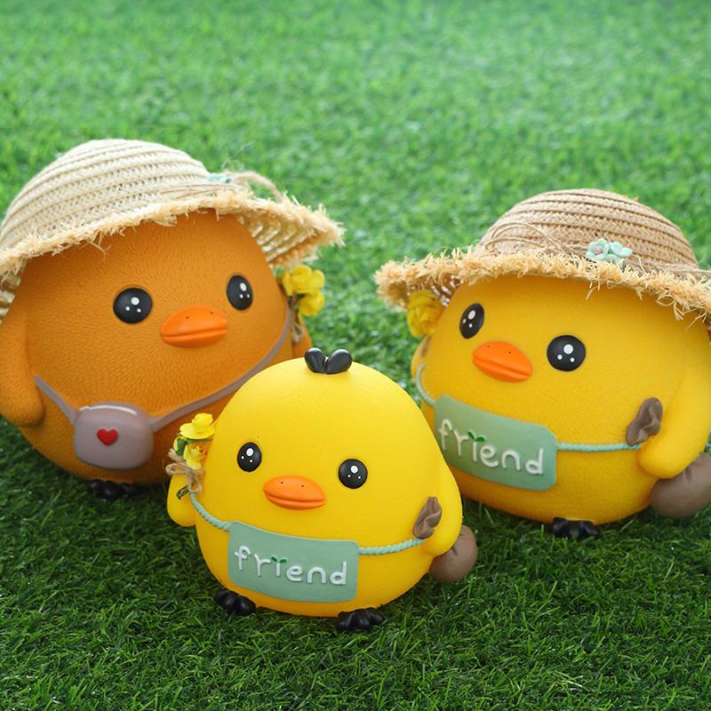 小鸡存钱罐成人儿童储蓄罐创意卡通可爱防摔大号储钱罐-草帽鸡一大