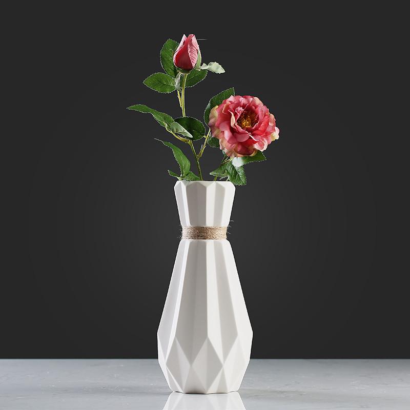 北欧简约创意折纸陶瓷插花麻绳花瓶客厅桌面餐厅小清新装饰品-单个