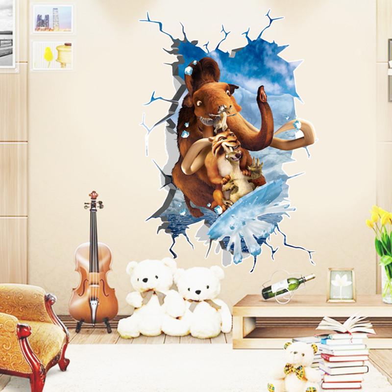 动物3d墙贴立体卡通贴纸浴室卫生间防水背景可移除贴纸画-冰河世纪