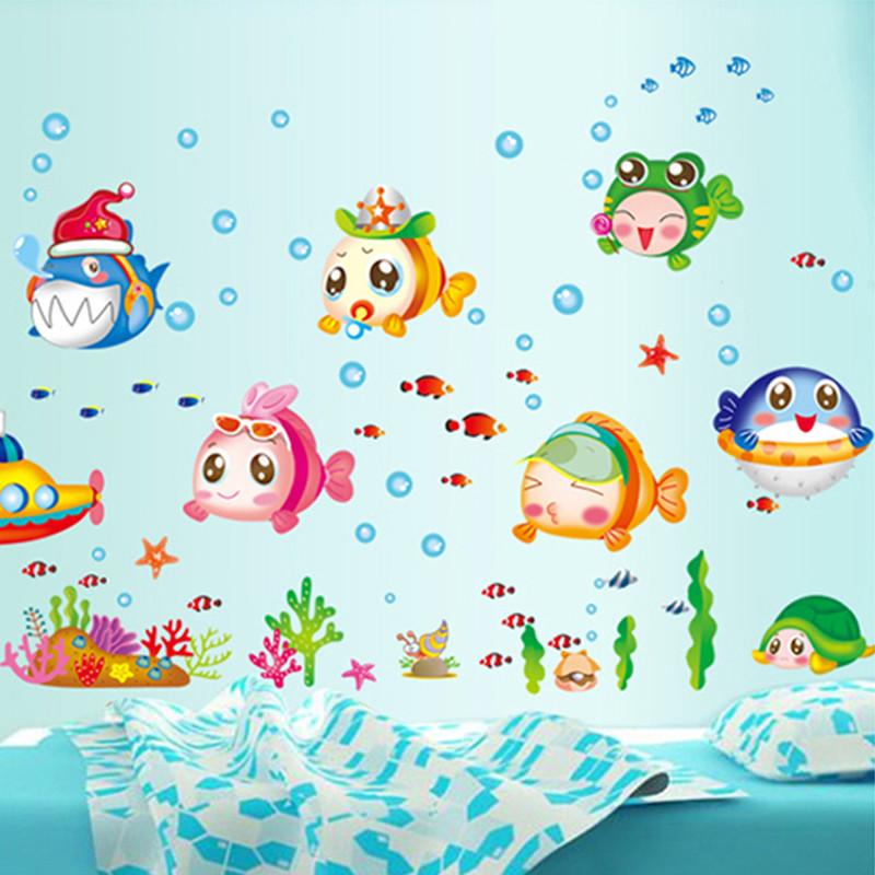 卫生间浴室防水墙纸玻璃贴纸卡通贴画儿童房温馨可移除墙贴-卡通可爱