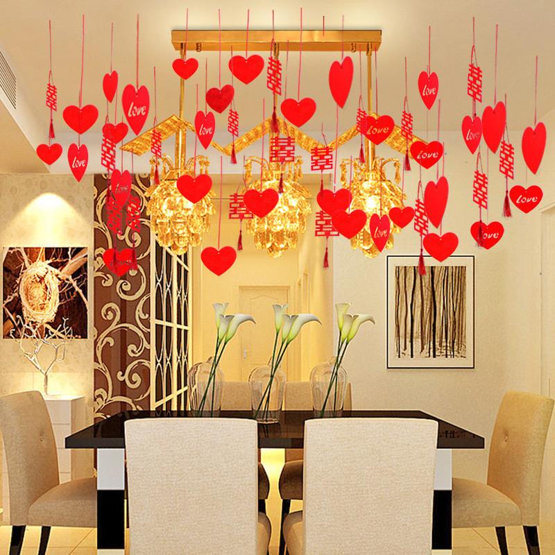 婚房布置裝飾品婚慶用品拉花新房客廳臥室浪漫結婚拉花-無紡布心形