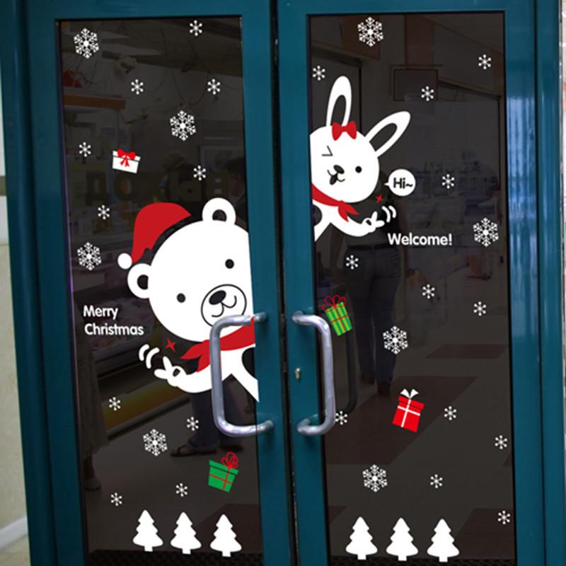 店铺橱窗玻璃贴纸卡通可移除墙贴纸客厅圣诞节雪景装饰品墙壁贴画-d款