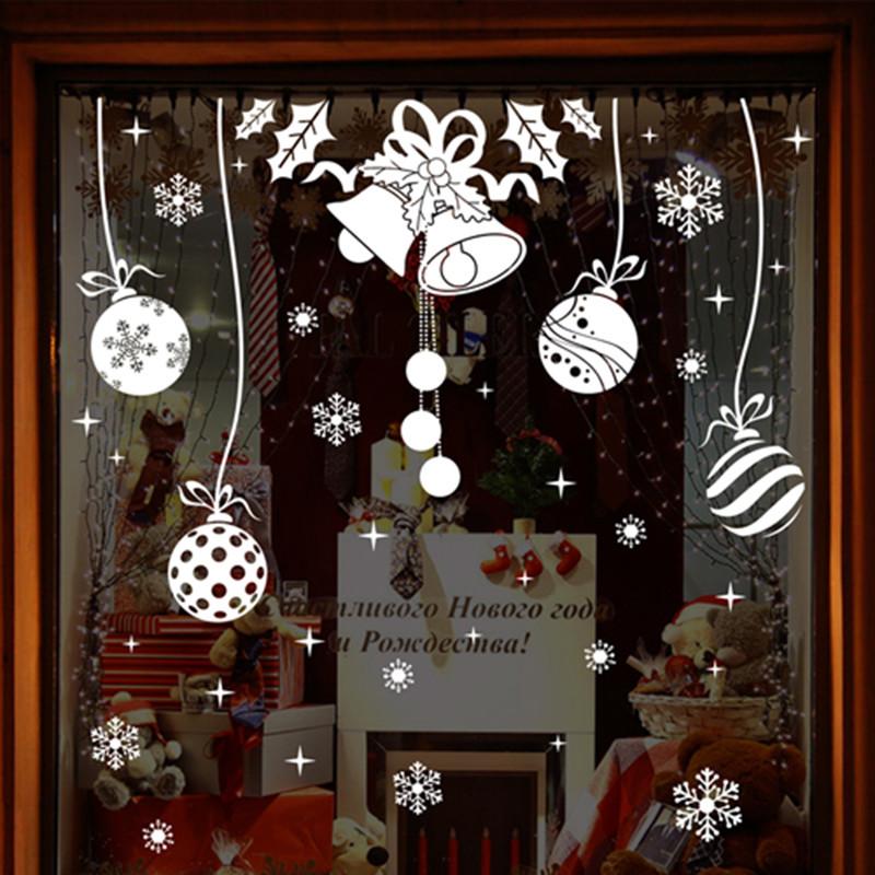 店铺橱窗玻璃卡通贴纸可移除墙贴纸客厅圣诞节雪景装饰品墙壁贴画-f款