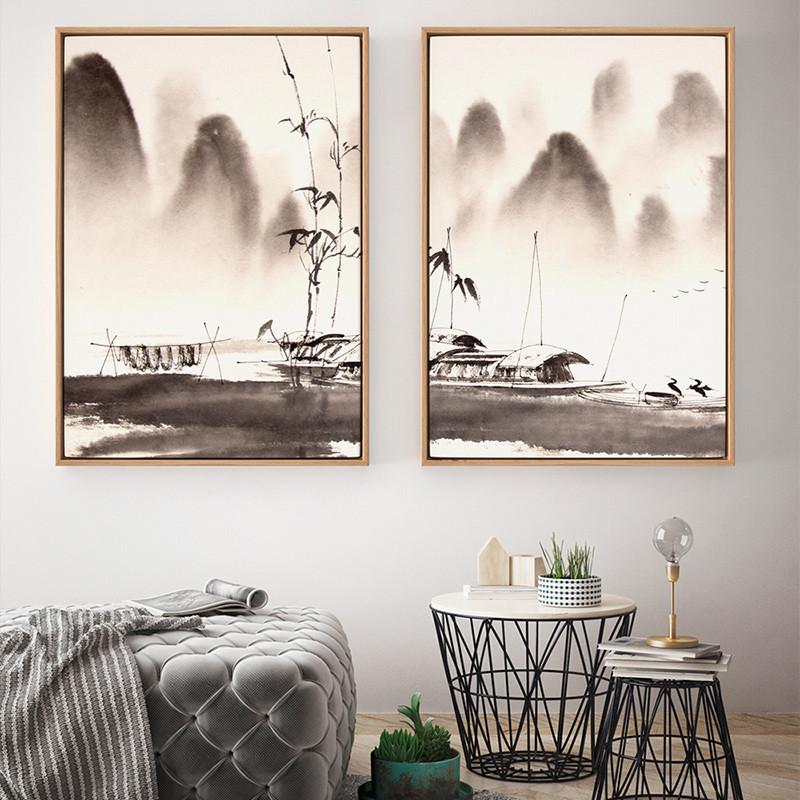 现代中式山水画黑白风景书房意境装饰画客厅水墨三联画茶室壁画挂- 40