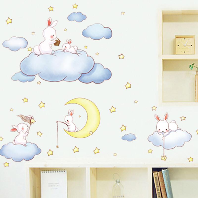 卡通动物贴画墙贴可移除自粘画幼儿园背景墙装饰宝宝儿童房卧室墙贴纸