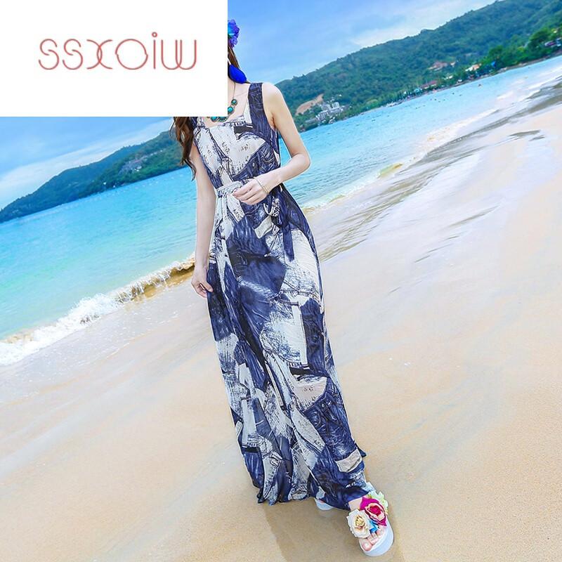 ssxoiw2017夏季新款女装收腰显瘦雪纺连衣裙海边度假沙滩裙波西米亚