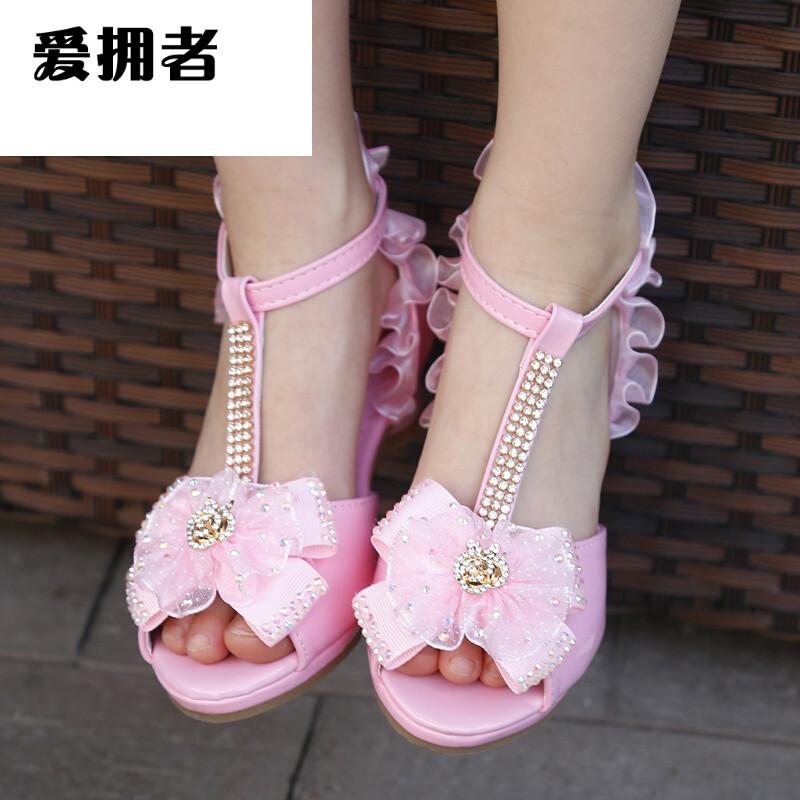 爱拥者女童凉鞋夏季2017新款白色韩版小学生可爱小孩儿童高跟鞋公主