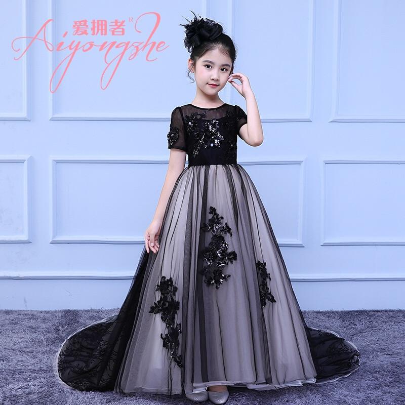 爱拥者儿童晚礼服公主裙长拖尾女童模特走秀礼服小主持人钢琴演出服