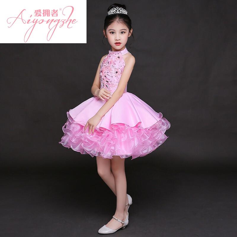 爱拥者儿童晚礼服模特走秀演出服女童礼服表演服公主裙蓬蓬裙长拖尾
