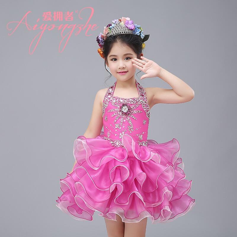 爱拥者公主裙女童蓬蓬纱模特走秀表演服装儿童小主持人礼服演出服女夏