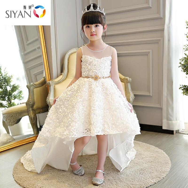斯妍儿童礼服公主裙女童白色花童婚纱走秀小主持人钢琴演出服拖尾超长
