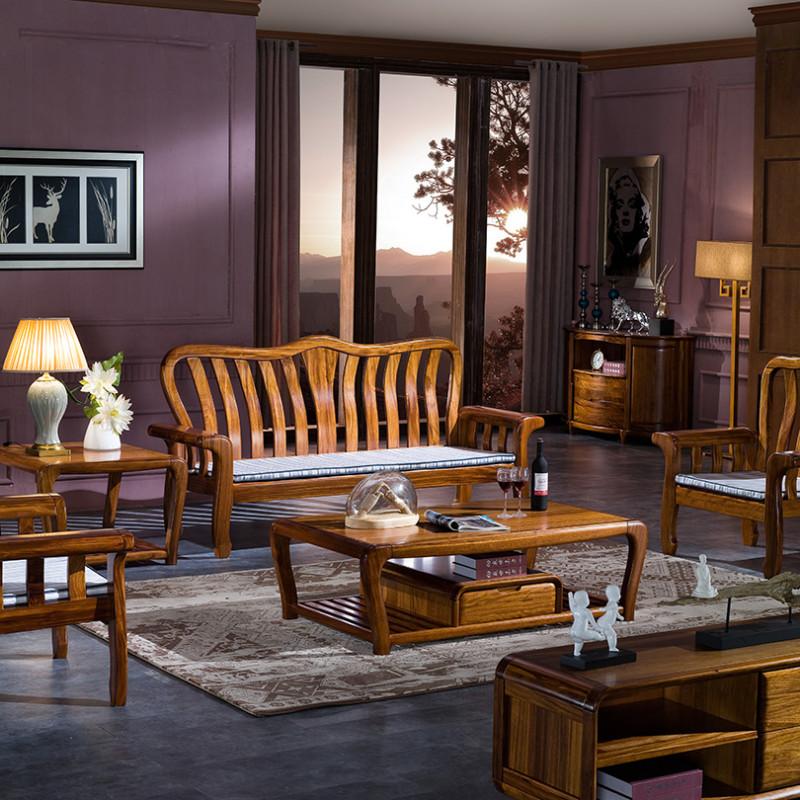 龙森家具 实木沙发乌金木沙发客厅中式实木组合沙发婚