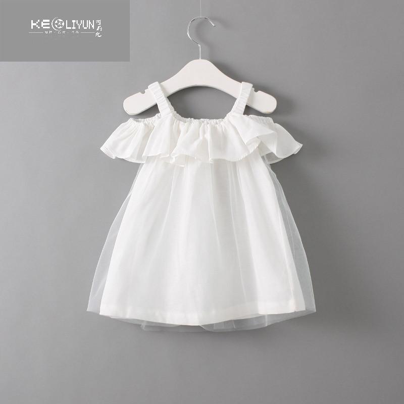 品牌韩版童装2017夏季新款时尚休闲吊带露肩甜美可爱小公主女童吊带裙