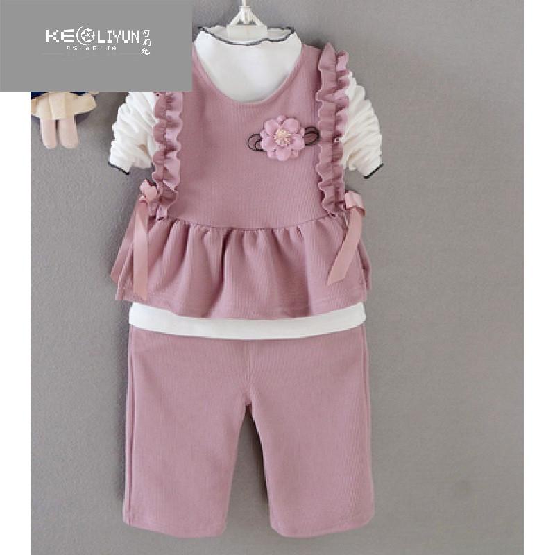 女童长袖套装小孩秋天衣服潮5婴幼儿童装0-1-2-3-4周岁半宝宝秋装