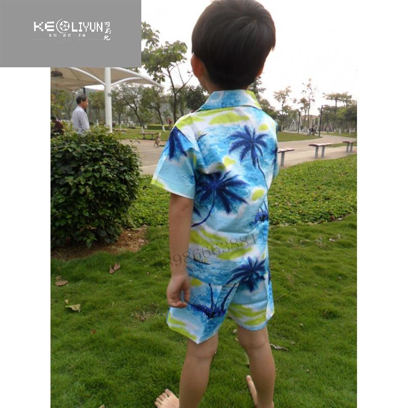 海南岛服儿童套装 小孩2件套旅游花色休闲服饰