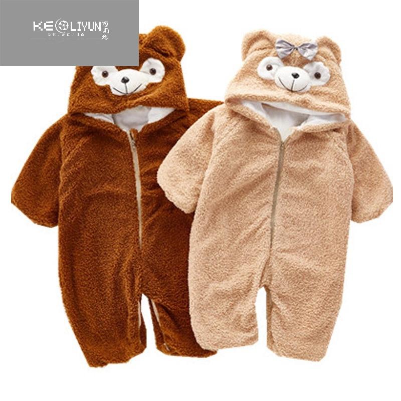 婴幼儿卡通可爱小熊连体衣睡衣冬季男女童宝宝毛绒棉加绒家居爬服