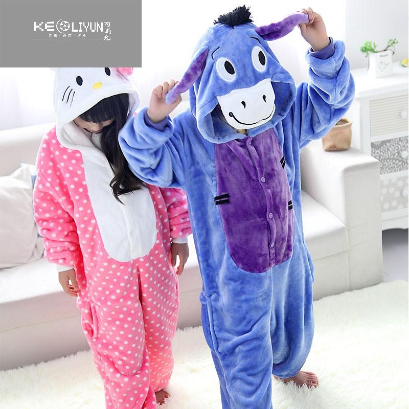 凯蒂猫儿童动物连体睡衣法兰绒毛驴卡通男女童演出服