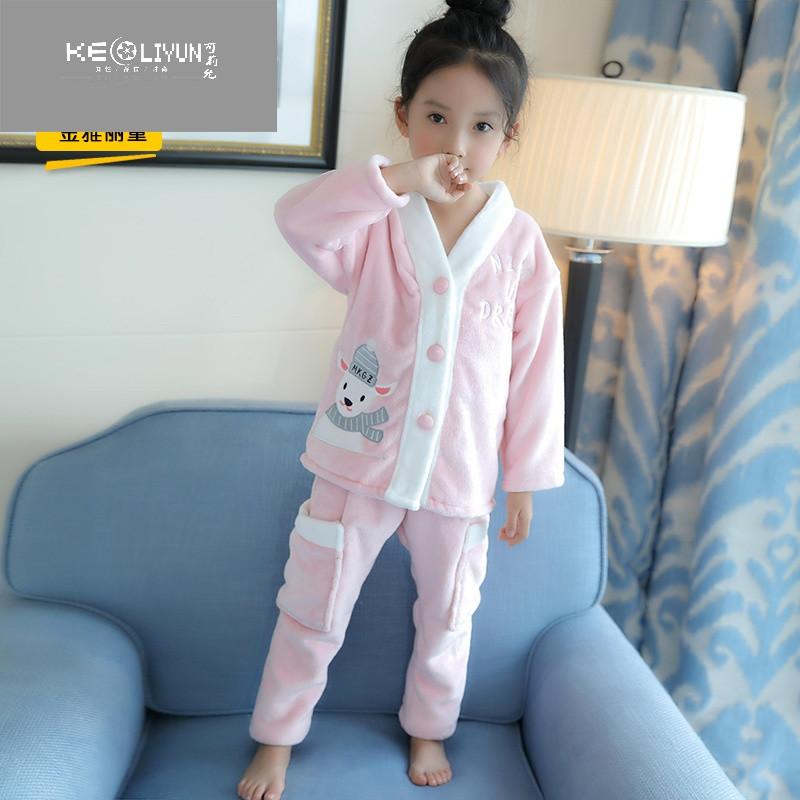 童装女童睡衣新款冬装儿童法兰绒套装亲子装母女加厚中大童家居服