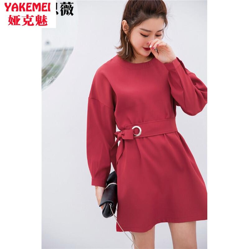 连衣裙2017春季新款气质长袖设计收腰腰带圆环连衣裙