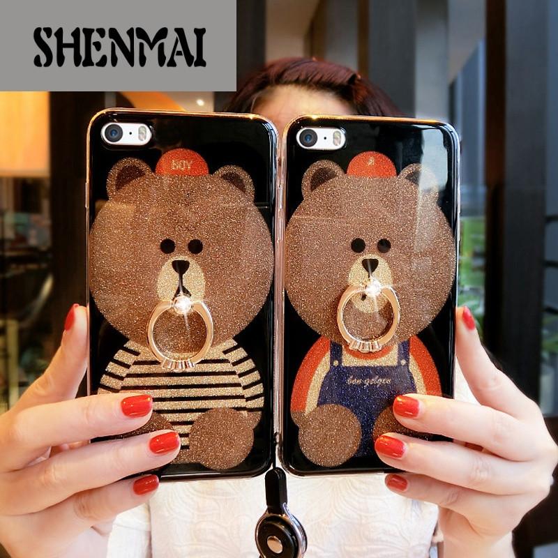 shm品牌可爱熊情侣壳苹果5手机壳女潮男iphone5s硅胶软硬套5se五卡通