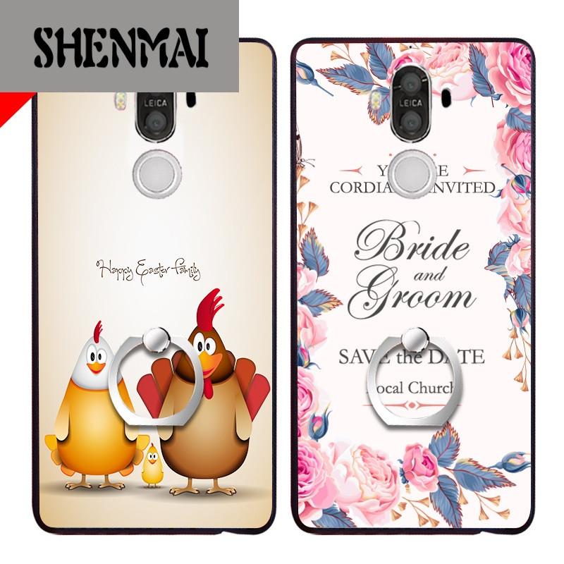 shm品牌华为mate9手机壳卡通可爱招财猫保护套硅胶防摔个性创意男女款