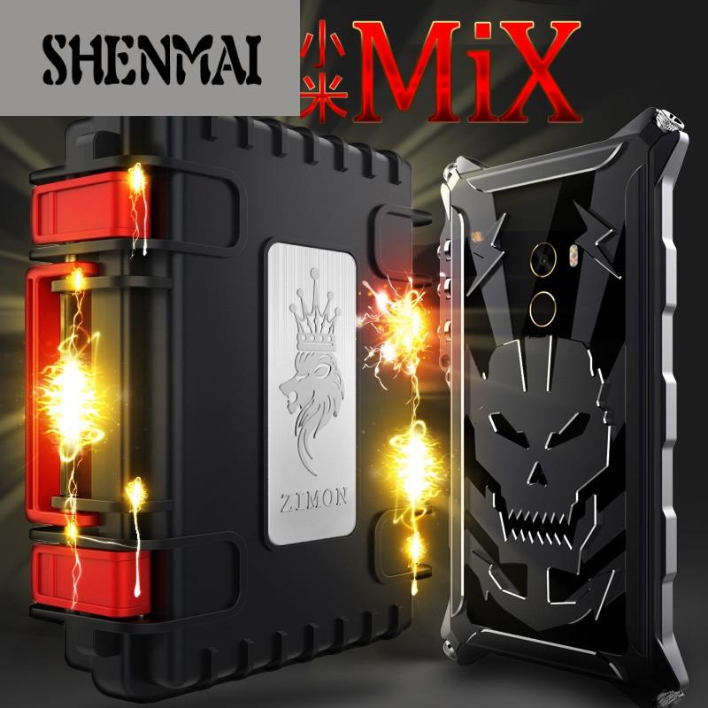 shm品牌小米mix手机壳骷髅金属边框小米mix机械臂雷鬼