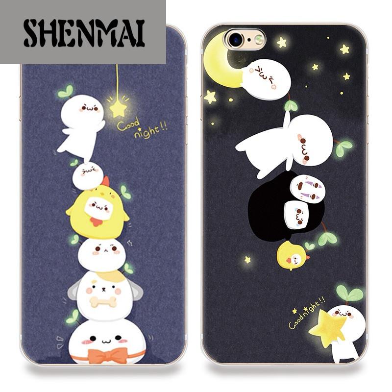 shm品牌苹果6s手机壳iphone7plus防摔保护套5se可爱长颜草团子文字