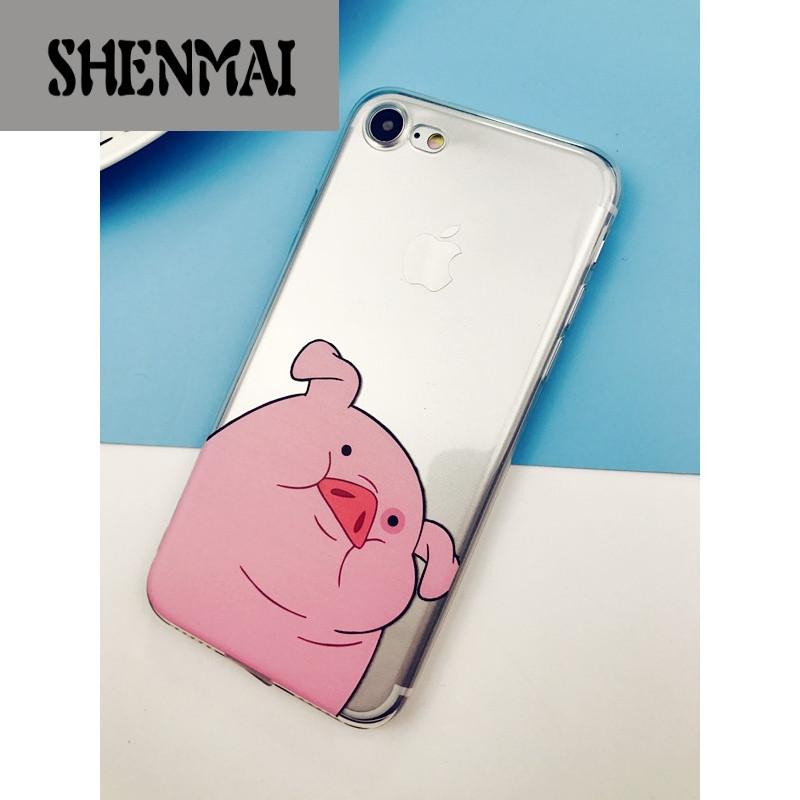 shm品牌萌萌猪头iphone5se/6sp/7p可爱vivox7/x9软壳oppor