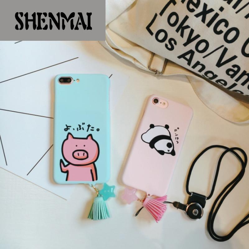 shm品牌可爱卡通猪iphone7plus手机壳流苏星星吊坠6splus熊猫硬壳挂