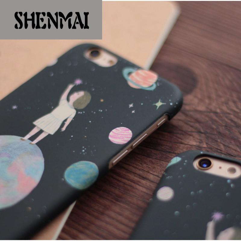 shm品牌森系小女孩苹果6s手机壳iphone6 4.7保护套6 plus薄磨砂外壳5s