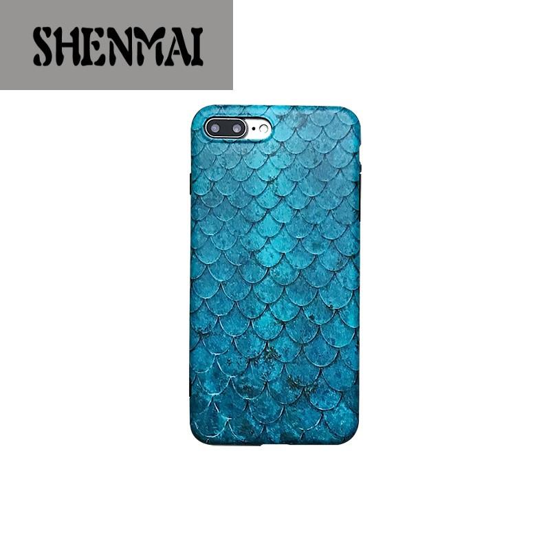 shm品牌ins蓝色鱼鳞苹果6s手机壳iphone7plus/8/x全包边软壳简约潮