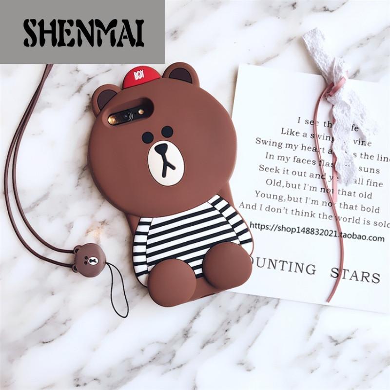 shm品牌韩国卡通可爱小熊iphone7/8/x手机壳苹果6splus硅胶挂绳保护套