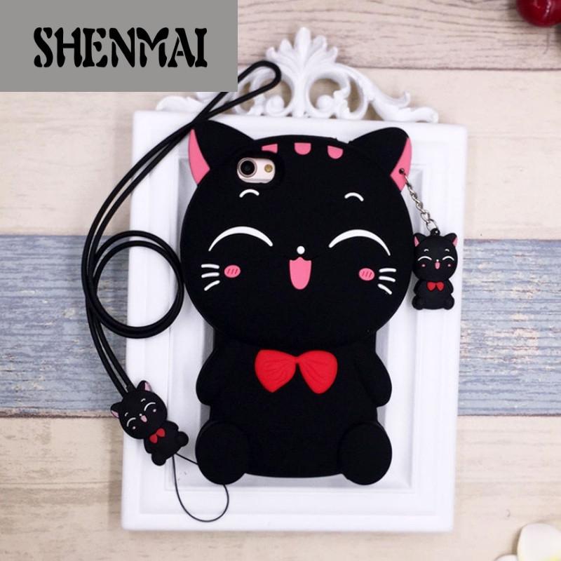 shm品牌iphone7手机壳硅胶苹果6plus卡通可爱猫咪防摔