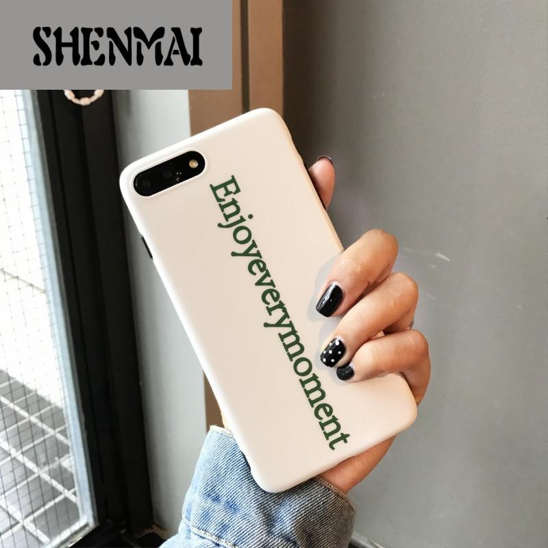 shm品牌韩国ins全白色字母中性手机软壳苹果iphone6s