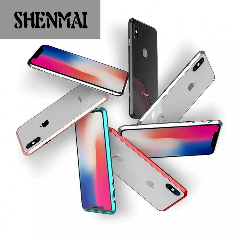 shm品牌黑色金属边框iphonex手机壳铝合金防摔壳简约 苹果x/10保护套