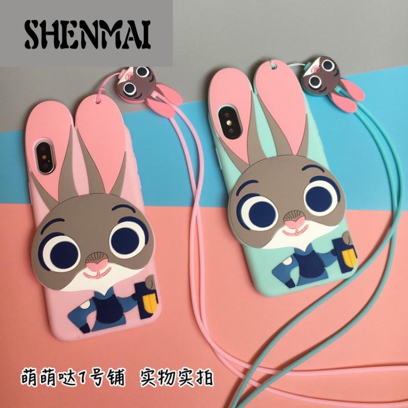 shm品牌疯狂动物城苹果8x手机壳6s全包软iphone7plus朱迪兔子5硅胶套