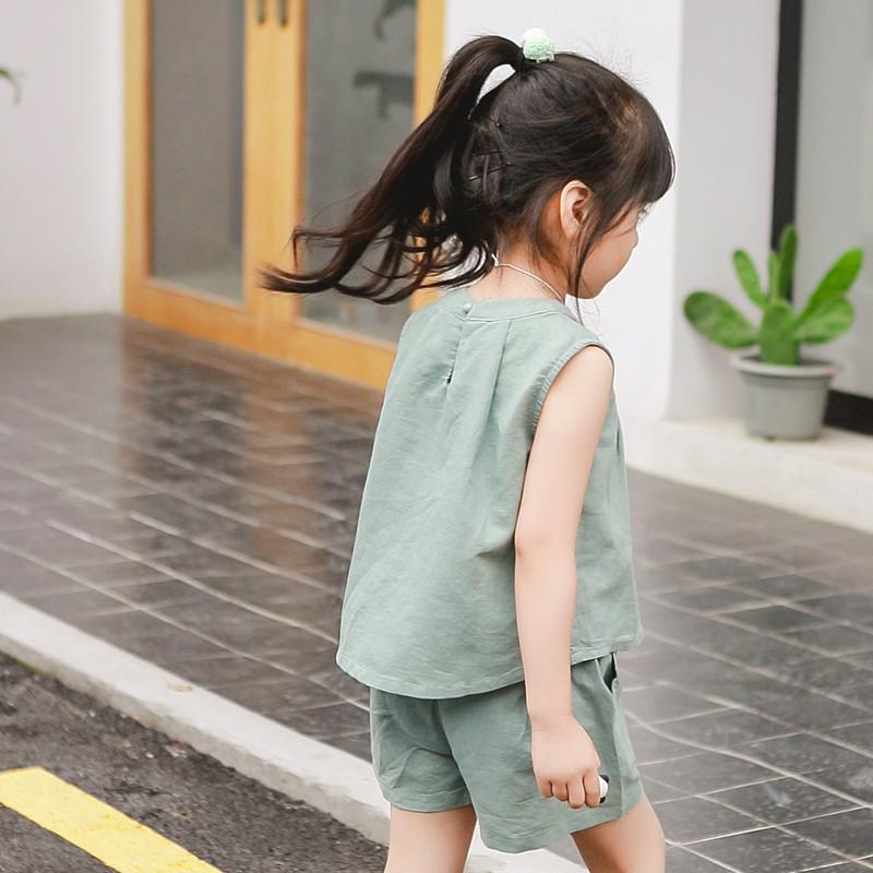 维恩克女童夏装2017新款套装儿童宝宝小孩衣服棉麻童装女短袖两件套